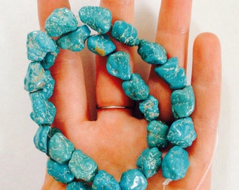 Natural raw turquoise - raw strand of beads - not uniform - bead supplies - beading - blue beads - designer