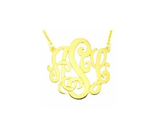 Mono08A Personalized Sterling Silver with Yellow Plate 1-1/4 Inch Monogram Necklace