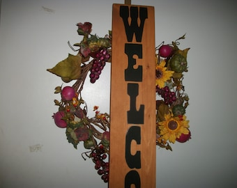 Wood sign Welcome, Stained wood sign, Welcome wood sign, Large welcome sign, Entrance door sign, Vertical wood sign