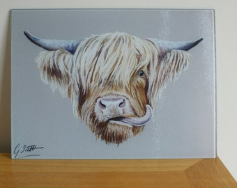 Scottish Highland Cow Chopping Board / Worktop Saver