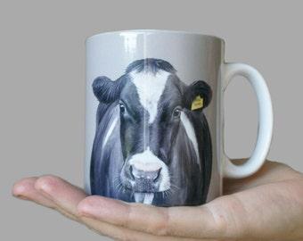 Friesian Cow Ceramic Art Mug By Irish Artist Grace Scott
