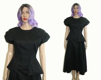 Sale 80s Black Gothic Dress S / 80s Does 40s Dress / 1980s Peplum Dress Low Back Backless