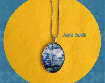 Water lily necklace-art-paintings-Monet-water lilies paintings necklace pendant