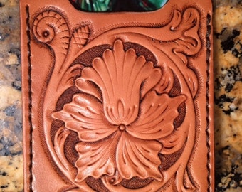 Tooled Leather Money Clip with Card Holder
