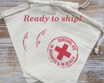 50 survival kits-in sickness and in health, wedding favor bags, recovery bags, first aid bags, hangover kits, hangover bags, wedding welcome