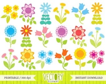 Flower Clipart Set of 18, Summer Flowers, Flower Clip Art, Flower Graphics by VectoryClipart