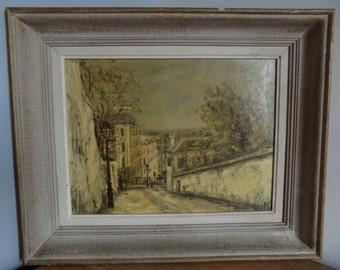 French vintage copy of Utrillo Montmartre painting, Rue du Mont Cenis 1914.