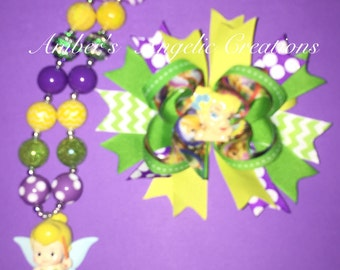 Tinker bell Inspired Bow With Matching Necklace