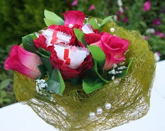 Rafaello with red rose/ sweet bouquet