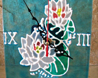 Wall clock water Lilies / Wall clock stained glass/Wall clock with flowers/FREE SHIPPING