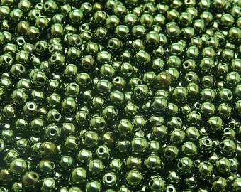 100pcs Czech Pressed Glass Beads Round 4mm Jet Green Look