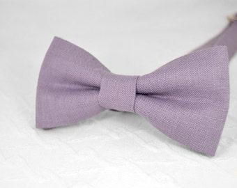 Dark lavender bow tie, dark purple bow tie, wedding linen bow tie, bow tie for men, groomsmen bow tie, bow tie for men