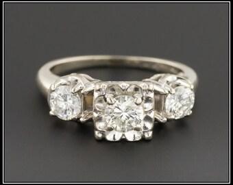 Vintage Engagement Ring | 14k White Gold Ring | Diamond Ring | Vintage Ring | 14k Gold Ring | Vintage Diamond Ring