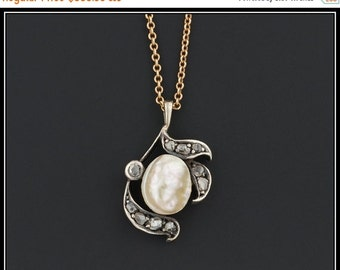 ON SALE Antique Baroque Pearl & Rose Cut Diamond Conversion Pendant Necklace, Bridal or Anniversary Necklace