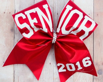 Senior cheer bow, seniors 2018, red cheer bow, made to match team colors, cheer team bows, gifts for graduation, senior night