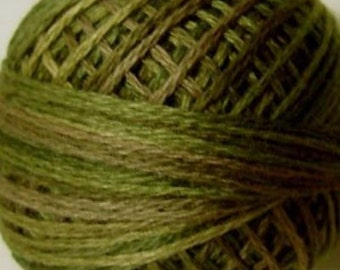 VALDANI Size 12 - O519 Green Olives   Pearl Cotton   Variegated Color   Hand Dyed Thread   109 Yard Cotton Ball