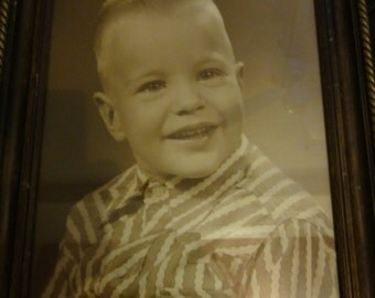 Vintage Framed Photo of a Cute Young Boy Wearing a Vintage Western Shirt
