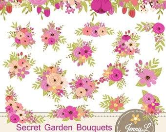Floral Bouquet Clipart, Pink Peach Wedding Flowers, Flower Bunches, Floral Arrangement for digital Scrapbooking, Wedding, Birthday