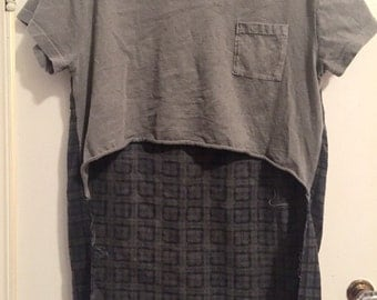 High-Low Plaid Crop Shirt with Pocket Size Large