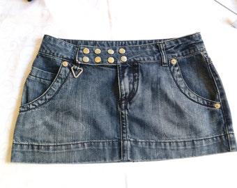 "90s Guess denim skirt, mini skirt, stud denim skirt, dark blue, mini denim skirt, 27"", hipster denim skirt, 1215/893"