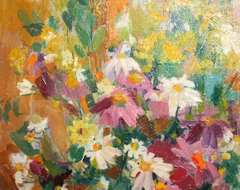 Impressionist floral oil painting signed