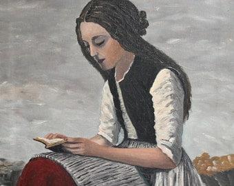 Vintage oil painting girlportrait signed