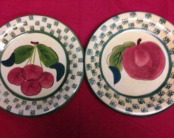 Decorative Apple Plates -  Pair