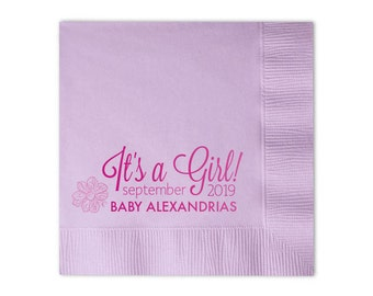 It's A Girl! Baby Shower Personalized Napkins - Set of 100 - Custom Printed Napkins, Foil Stamped Napkins, Party Favors, Baby Shower