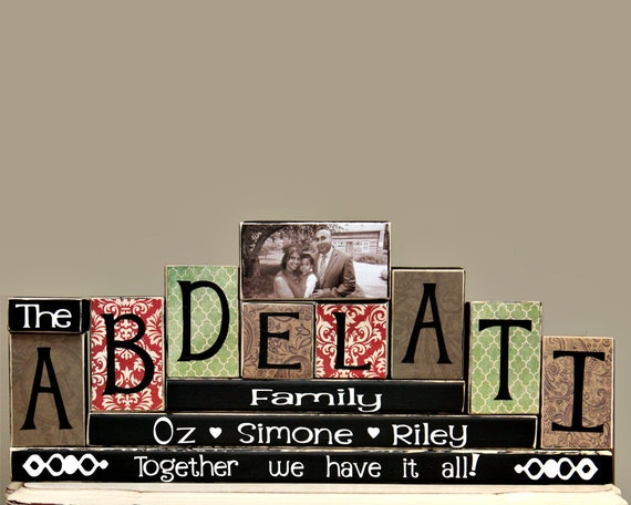 Family Name Blocks - Family Room Decor - Mantle Decoration - Family Celebration - Housewarming Gift Idea - 8 Letters Family Name with Photo