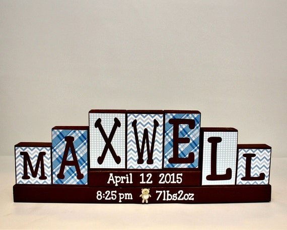Baby name letters decorative block unique baby by for Small dirty room 7 letters