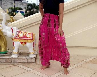 Ladies Handmade Tie Dye Deep Drop Pants. Extra Wide Smock Waist Fuschia Pink