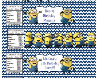 MINION Water Bottle Labels Minion Birthday Party Water Bottle Labels Minion Water Bottle Labels INSTANT DOWNLOAD
