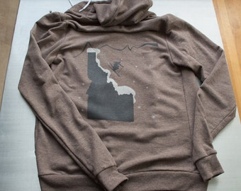 Ski Idaho hoodie, tri-blend american apparel.soft terry lining, color:coffee, free shipping in US.