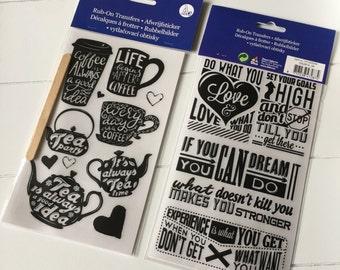 Set of 2 Rub-on Transfers, sticker sheets (ST06)
