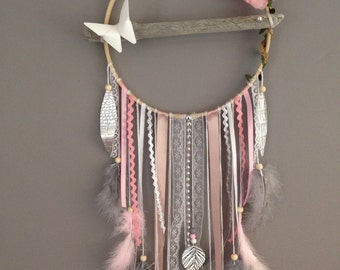 Dream catcher drift wood, white, grey and powder pink color.