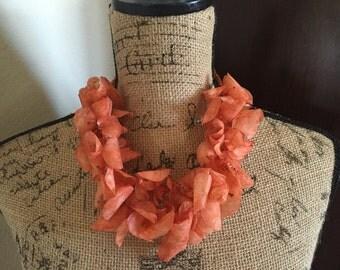 SALE! Orange Fish Scale Necklace, Orange Necklace, Beach Jewelry, Resort Jewelry