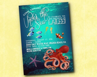 Under the Sea Underwater Ocean Octopus Birthday Invitation