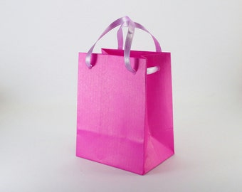 50 Violet Party Favor Bags with Handles - Extra Small Kraft Paper Gift Bags - Wedding Favor Bags - Bridal Shower Favors - small gift bags