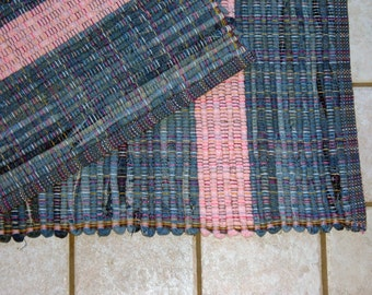 "Rag Rug #345 blue jean rug 26"" x 35"""