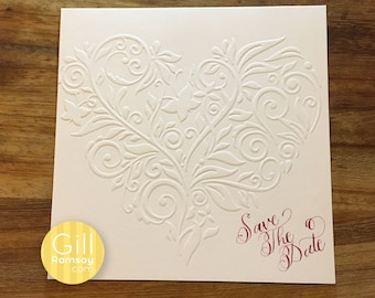 Embossed Heart Save the Date with Hand Written Calligraphy (with envelope). Simply Elegant.