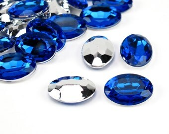 18x13mm sapphire blue oval acrylic cabochons, faceted oval cab,faceted foil back,13x18mm blue oval cabochon,18x13mm sapphire oval cab(2822c)