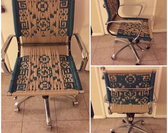 Up-cycled macrame office chair - jute OOAK