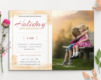 Photography Marketing Holiday Mini Sessions Template ,- INSTANT DOWNLOAD, Holiday MINI008