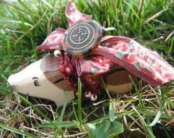 Wooden Badger Totem with carved wooden badger, vintage rose ribbon, vintage button, crocheted ribbon with seed beads, red tigers eye
