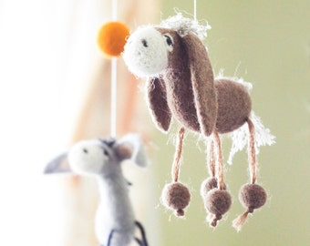Needle Felted Baby Mobile, Donkey Baby mobile, Western Baby Crib Mobile, Nursery Decor, Baby Shower Gift