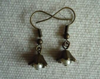 Pretty antique brass pearl drop earrings