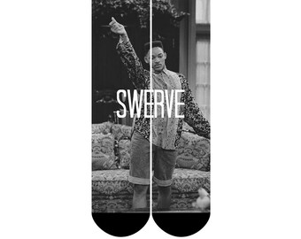 Funny Fresh Prince of Bel Air WIll Smith SWERVE Custom Socks