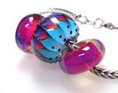 Handmade Glass Bead Set of 3/Fuchsia and Bright Blue Handmade Glass Bead/BHB/Big Hole Handmade Glass Bead