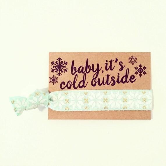 Baby It's Cold Outside Hair Tie Favor | Mint + Gold Nordic Snowflake Hair Tie Favor, Hanukkah + Holiday Hair Ties, Friend Coworker Teen Gift