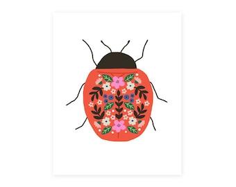 Ladybug Art Print, Colorful Beetle
